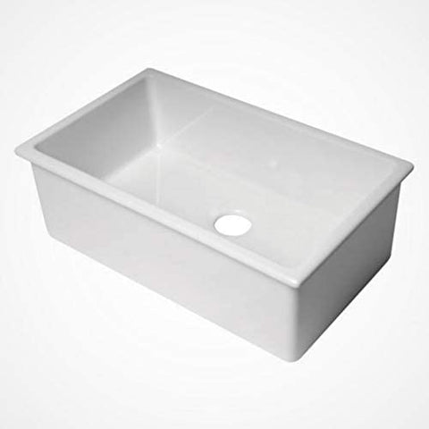"30"" White Undermount/Drop In Single Bowl Fireclay Kitchen Sink MADE IN ITALY"