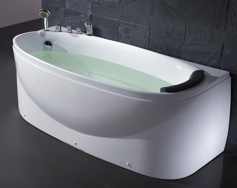 White 6' Soaking Tub with Fixtures And Left Drain, BACK ORDER 1/15/2020