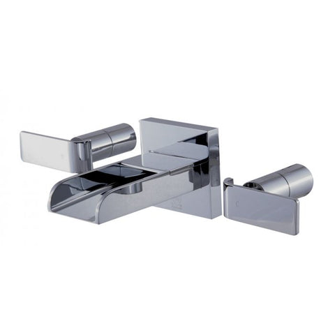 Widespread Wall Mounted Modern Waterfall Bathroom Faucet MSRP: $485.00 - $585.00