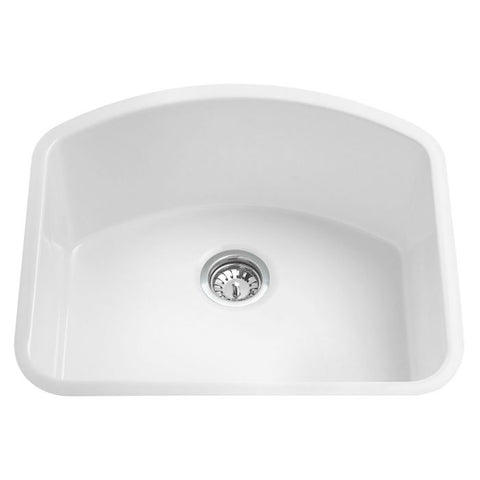 White Fireclay Undermount D-Shaped Kitchen Sink