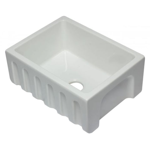 "24"" Reversible Smooth / Fluted Single Bowl Fireclay Farm Sink"