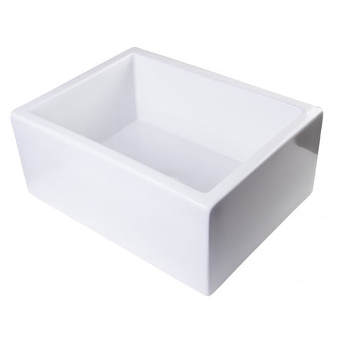 "24"" Smooth Thick Wall Fireclay Single Bowl Farm Sink"