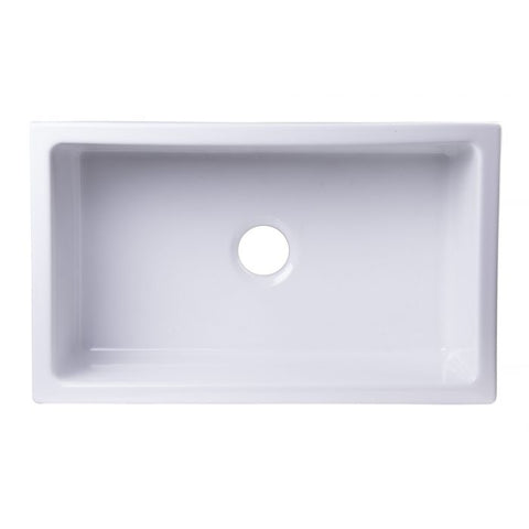 "33"" Smooth Solid Thick Wall Fireclay Single Bowl Farm Sink"