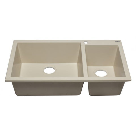 "34"" Double Bowl Drop In Granite Composite Kitchen Sink"