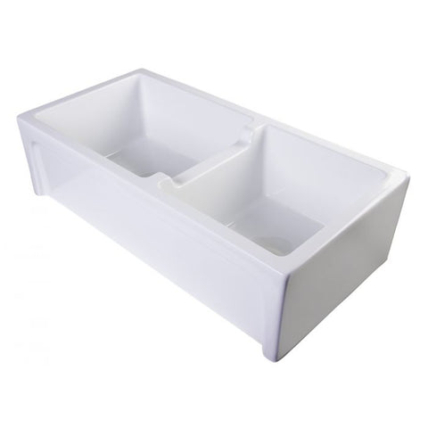 "39"" Smooth Thick Wall Fireclay Double Bowl Farm Sink"