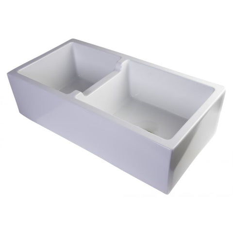 "36"" Smooth Thick Wall Fireclay Double Bowl Farm Sink"