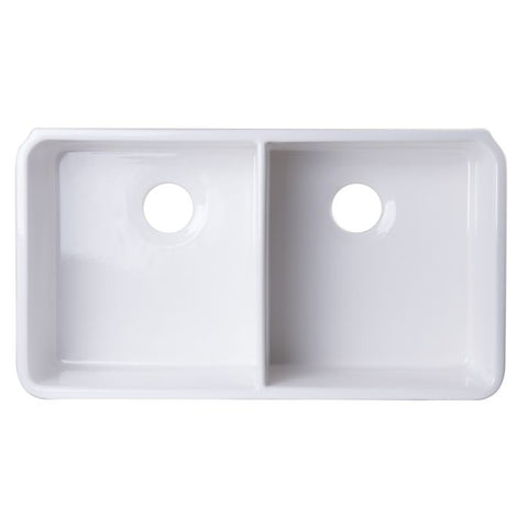 "32"" Double Bowl Fireclay Undermount Kitchen Sink"