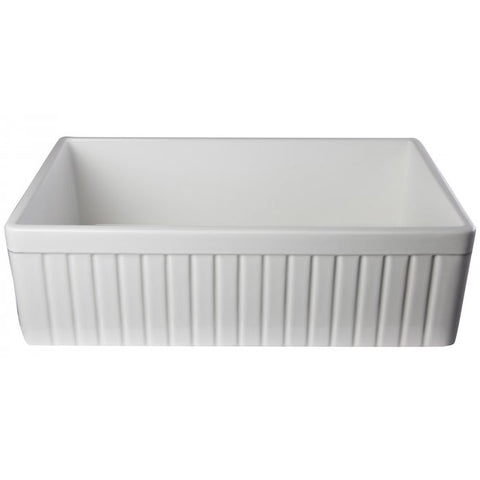 "33"" Single Bowl Fluted Fireclay Farm Sink"