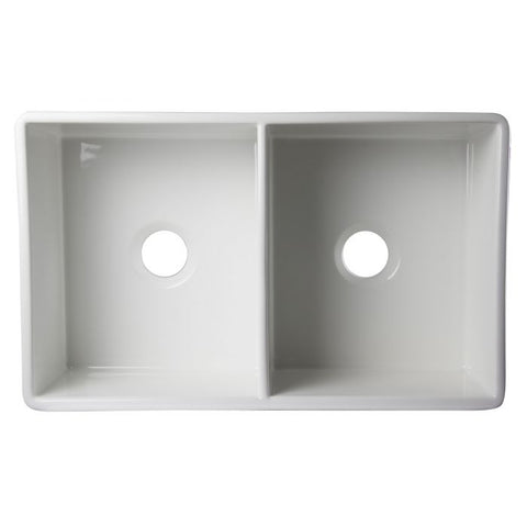 "32 3/4"" Lip Double Bowl Fireclay Farmhouse Apron Kitchen Sink"