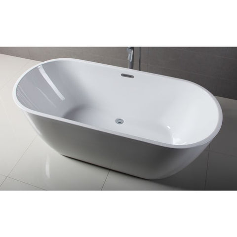 White Oval Acrylic Free Standing Soaking Bathtub