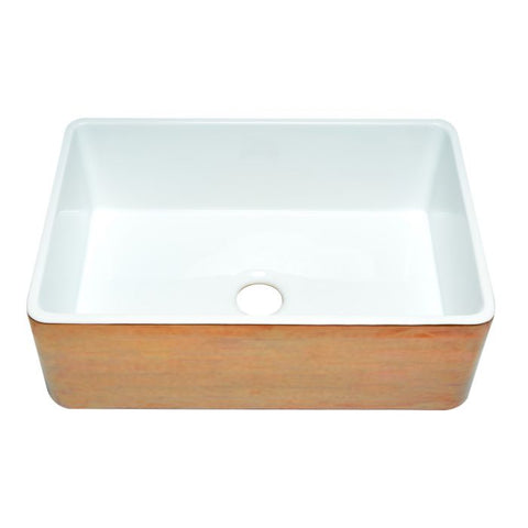 "30"" Single Bowl Fireclay Copper/Fluted Farmhouse Kitchen Sink"