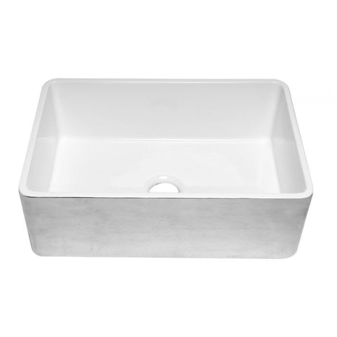 "30"" Fireclay Platinum/Fluted Reversible Kitchen Sink"