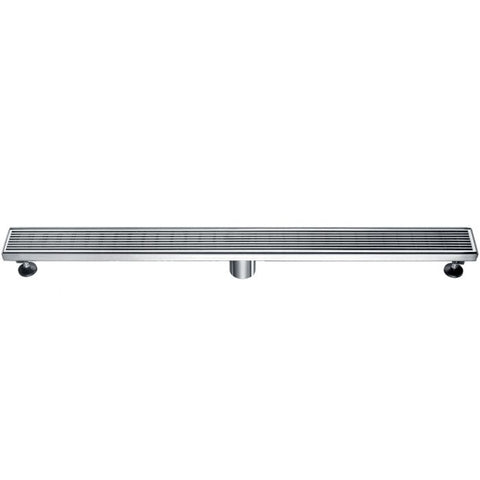 Modern Stainless Steel Linear Shower Drain with Groove Lines MSRP: $270.00-370.00