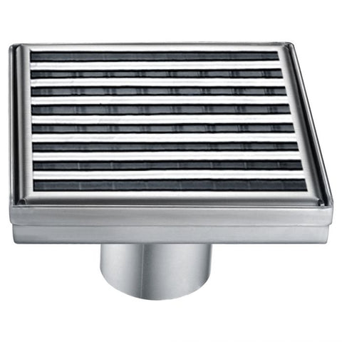 Square Stainless Steel Shower Drain with Groove Lines