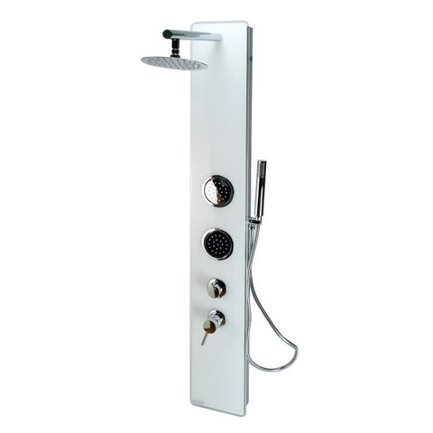 White Glass Shower Panel with 2 Body Sprays and Rain Shower Head