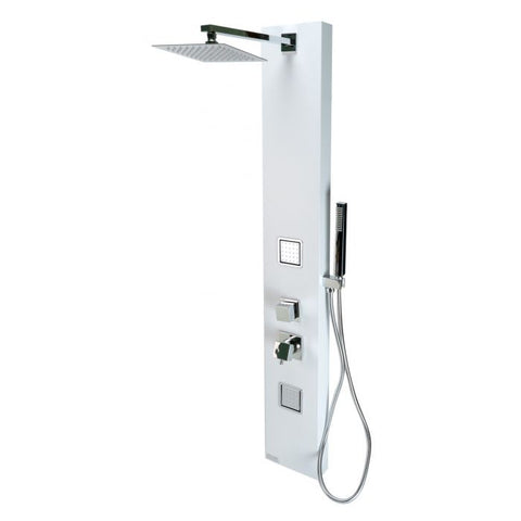 White Aluminum Shower Panel with 2 Body Sprays and Rain Shower Head