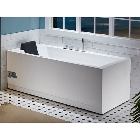 Acrylic White Rectangular Whirlpool Tub With Fixtures