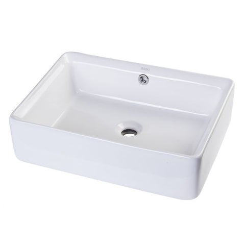 Rectangular Porcelain Bathroom Sink with Overflow