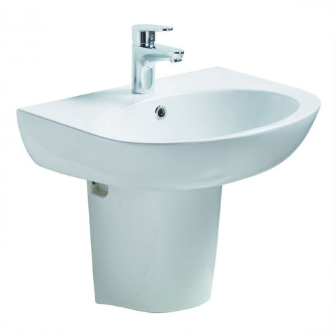 Wall Mounted Semi Pedestal Bathroom Sink