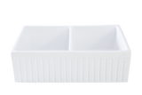 "33"" Double Bowl Apron Front Kitchen Sink Fireclay Farmhouse White, Reversible: Smooth / Fluted"