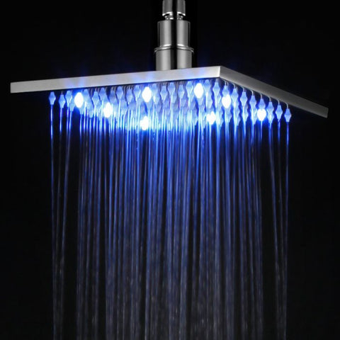 Square Multi Color LED Rain Shower Head