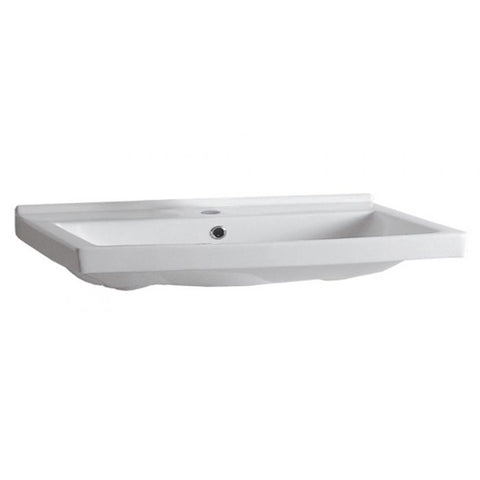 White Porcelain Rectangular Wall Mount Bathroom Basin Sink