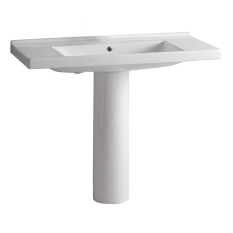 White Porcelain Rectangular Bathroom Pedestal Sink