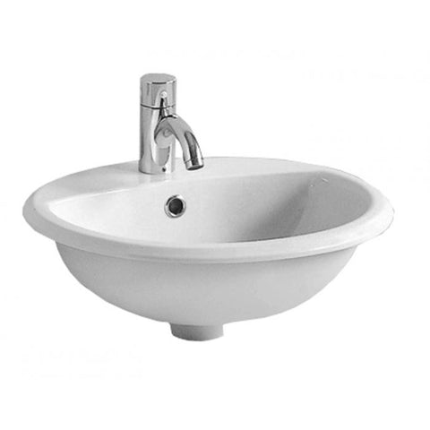 White Single Bowl Porcelain Round Drop-In Bathroom Basin Sink