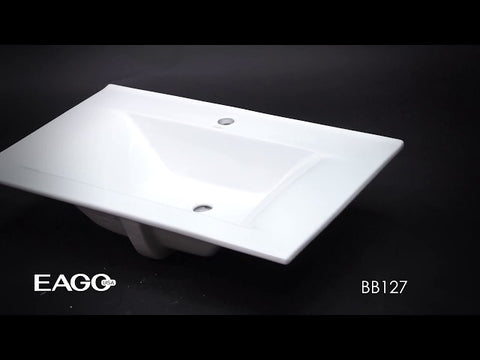 "White Ceramic 32""x19"" Rectangular Drop In Sink    MSRP: $490.00"