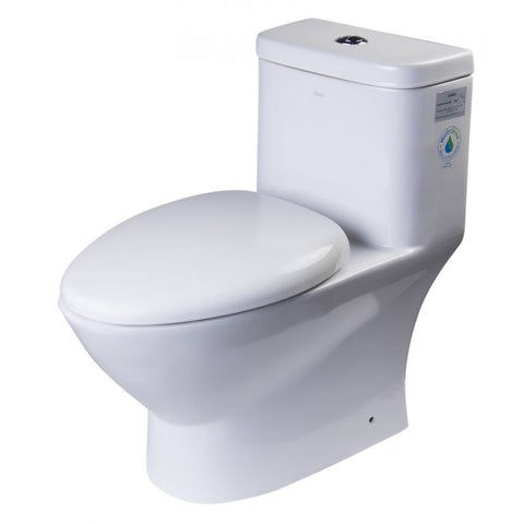 Elongated One Piece Dual High Efficiency Low Flush White Toilet