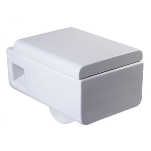 Square Modern Wall Mounted Dual Flush White Ceramic Toilet Bowl   MSRP: $590.00