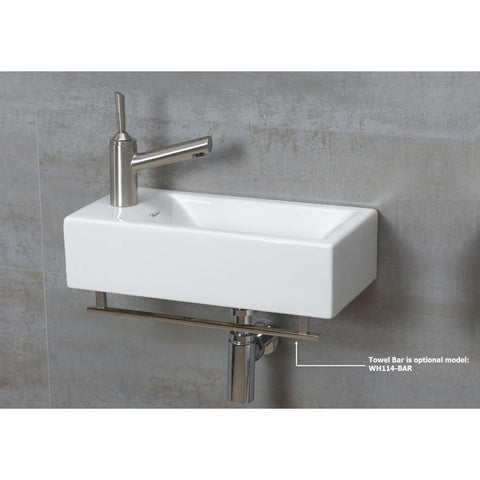 White Ceramic Bathroom Wall Mount Rectangular Basin Sink