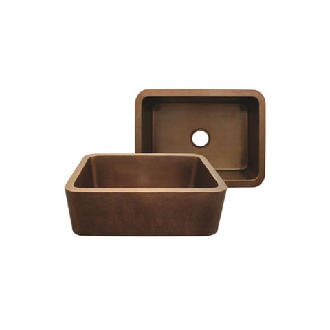 Smooth Copper Front Apron Single Bowl Kitchen Sink