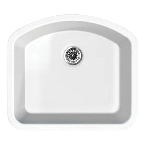 "23"" Undermount Large Single D-Bowl Fireclay Sink"