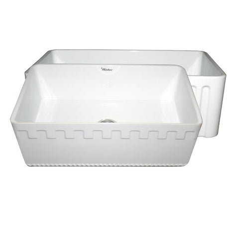 "30"" Single Bowl Fireclay Farmhouse Apron Front Sink"