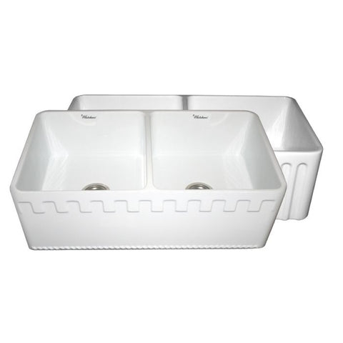 "33"" Athinahaus or Fluted Reversible Double Bowl Farm Kitchen Sink"