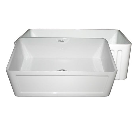 "30"" Concave or Fluted Reversible Fireclay Farm Apron Sink"