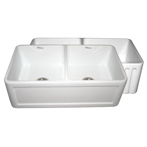 "33"" Fluted or Concave Double Bowl Fireclay Farm Sink"