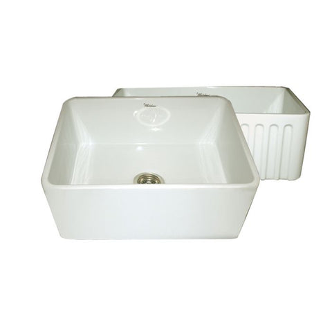 "24"" Fluted & Smooth Reversible Fireclay Farmhouse Kitchen Sink"