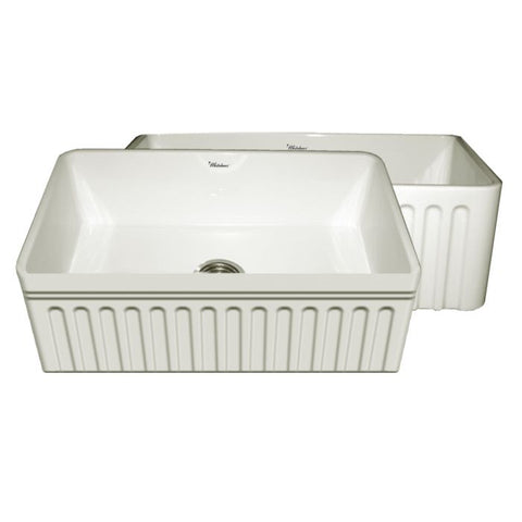 "30"" Kitchen Farm Sink With Fluted Apron And Decorative Lip"