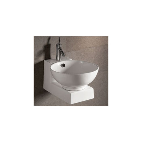 White Ceramic Round Above Mount Bathroom Sink Basin