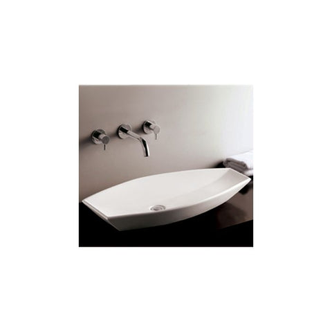 White Ceramic Oval Above Mount Bathroom Sink Basin