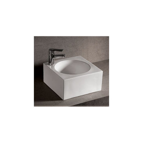 White Ceramic Square Above Mount Bathroom Sink Basin