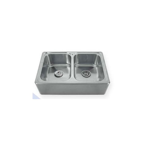 "33"" Stainless Steel Double Front Apron Drop-In Kitchen Sink"