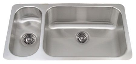 "32"" Stainless Steel Double Bowl Disposal Sink"