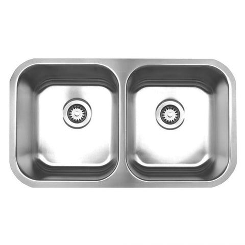 "31"" Stainless Steel Double Bowl Undermount Sink"