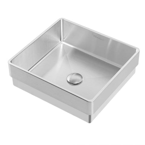 Squared Semi-recessed Basin With Center Drain