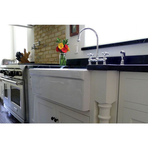 "30"" Single Bowl Fireclay Farmhouse Apron Kitchen Sink with Lip"