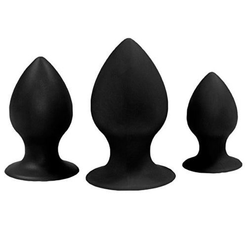 Silicone Anal Trainer Kit Butt Plug Set (Three-piece Suit) (Black)