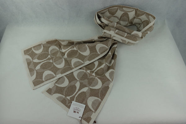 Bufanda Coach Signature Scarf Khaki Silver Muffler Tonal Dream - illa Elite Fashion Suppliers